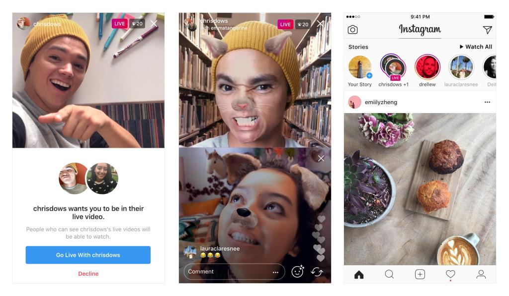 Instagram stories - Imagens exemplo de uma live