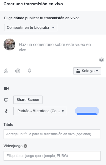 Streaming - personalizar live en Facebook