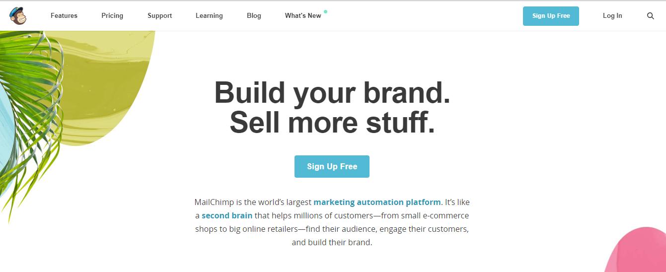 الدخول إلى الصفحة الرئيسية في MailChimp