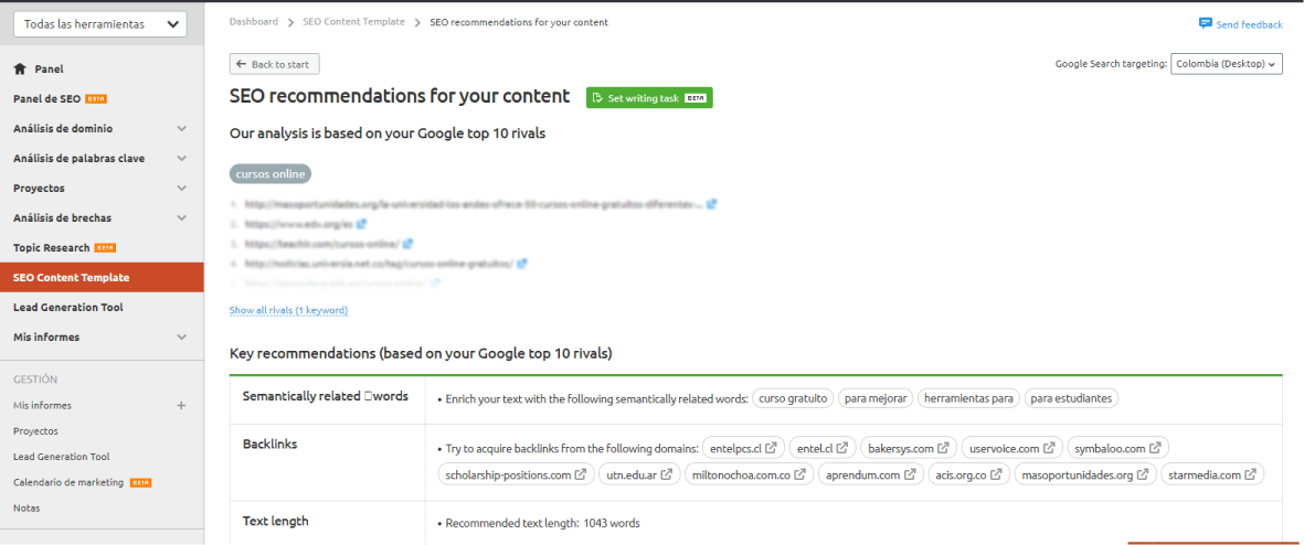 SEMrush - SEO content template recommendations