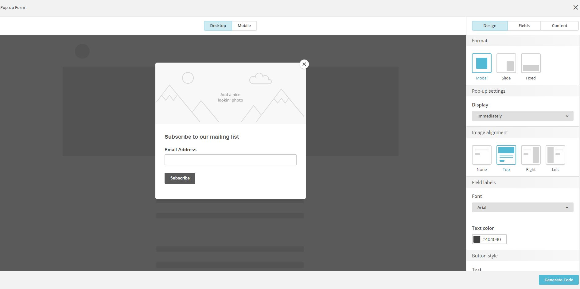 MailChimp - personalizar pop up