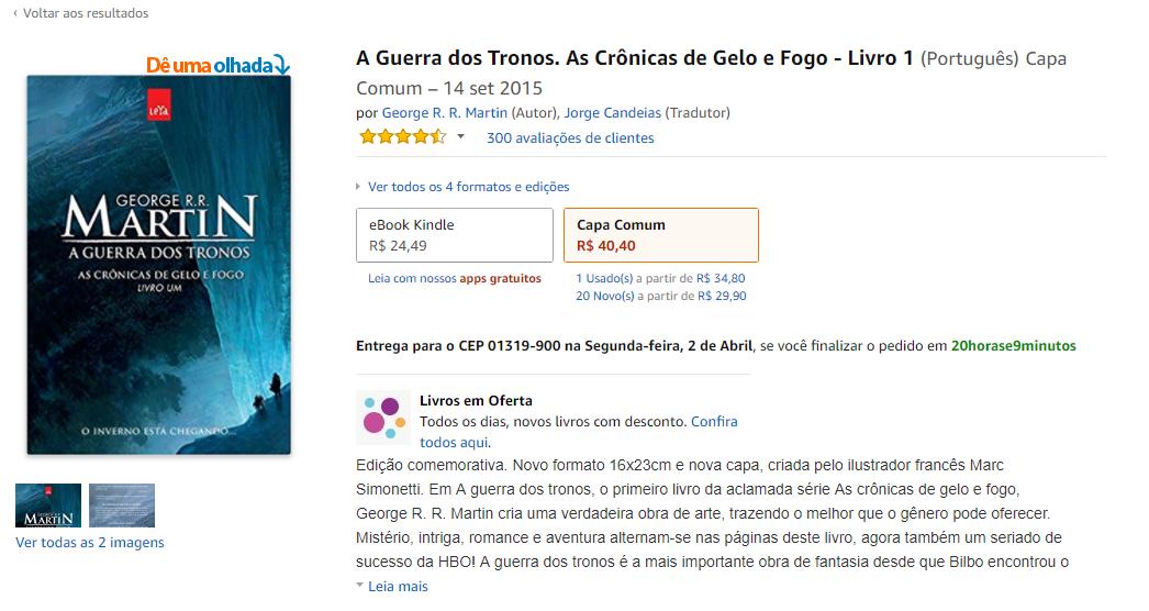 cross-selling - imagem da tela de compra de um livro da Amazon