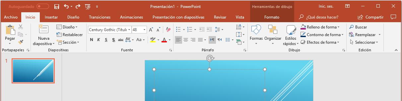 presentaciones en power point - imagen del PowerPoint en la opción añade textos
