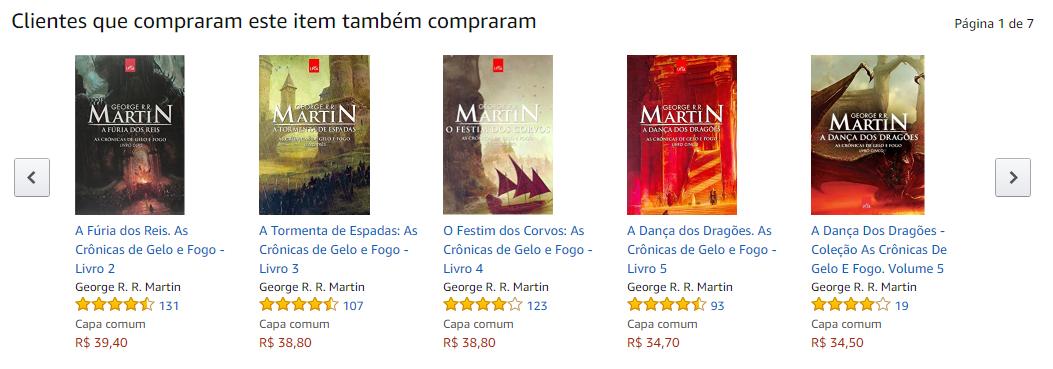cross-selling - imagem das indicações do site da Amazon para o usuário