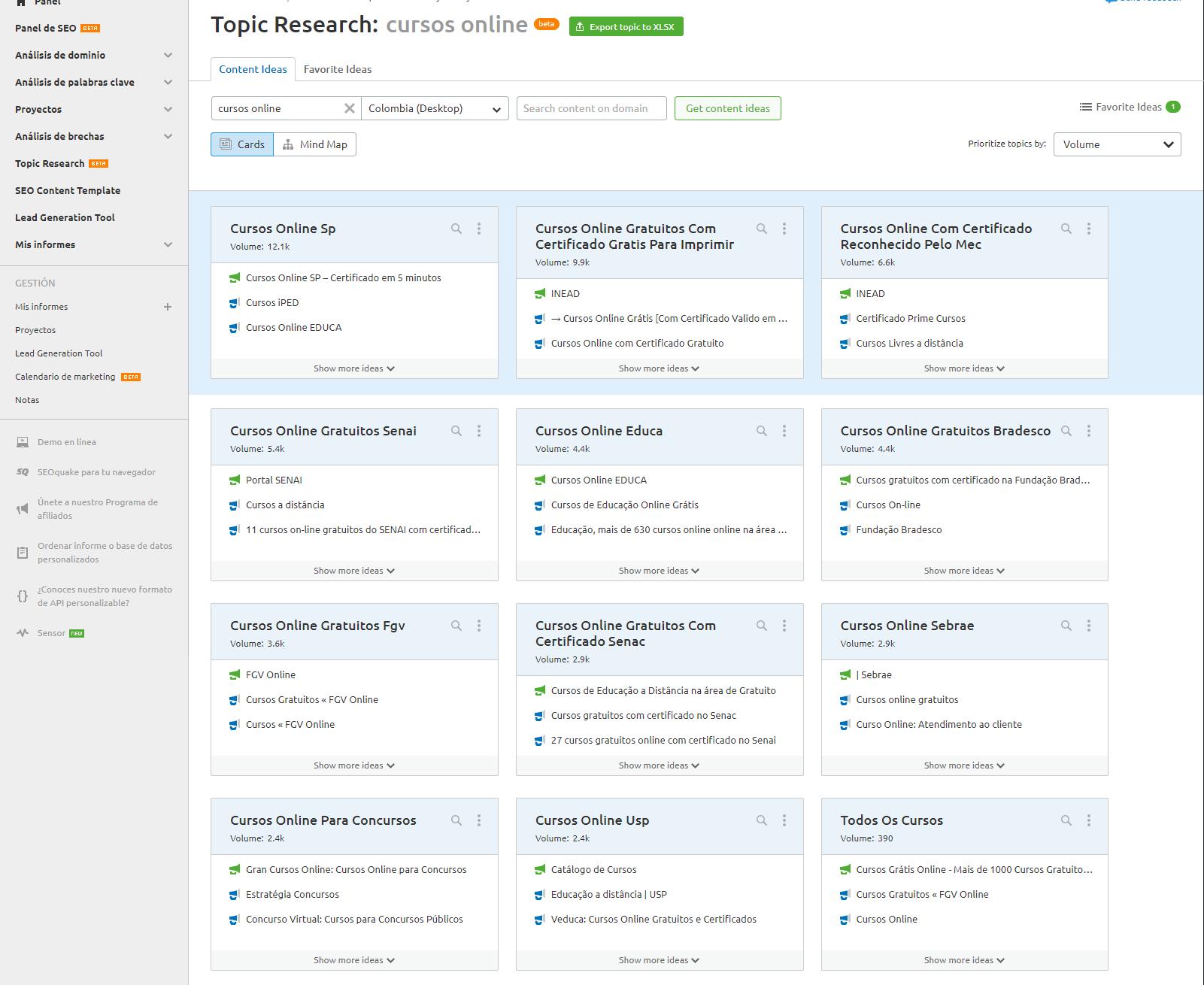 SEMrush - Topic research ejemplo