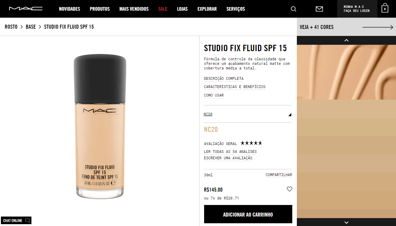 cross-selling - imagem da página de vendas de uma base da MAC