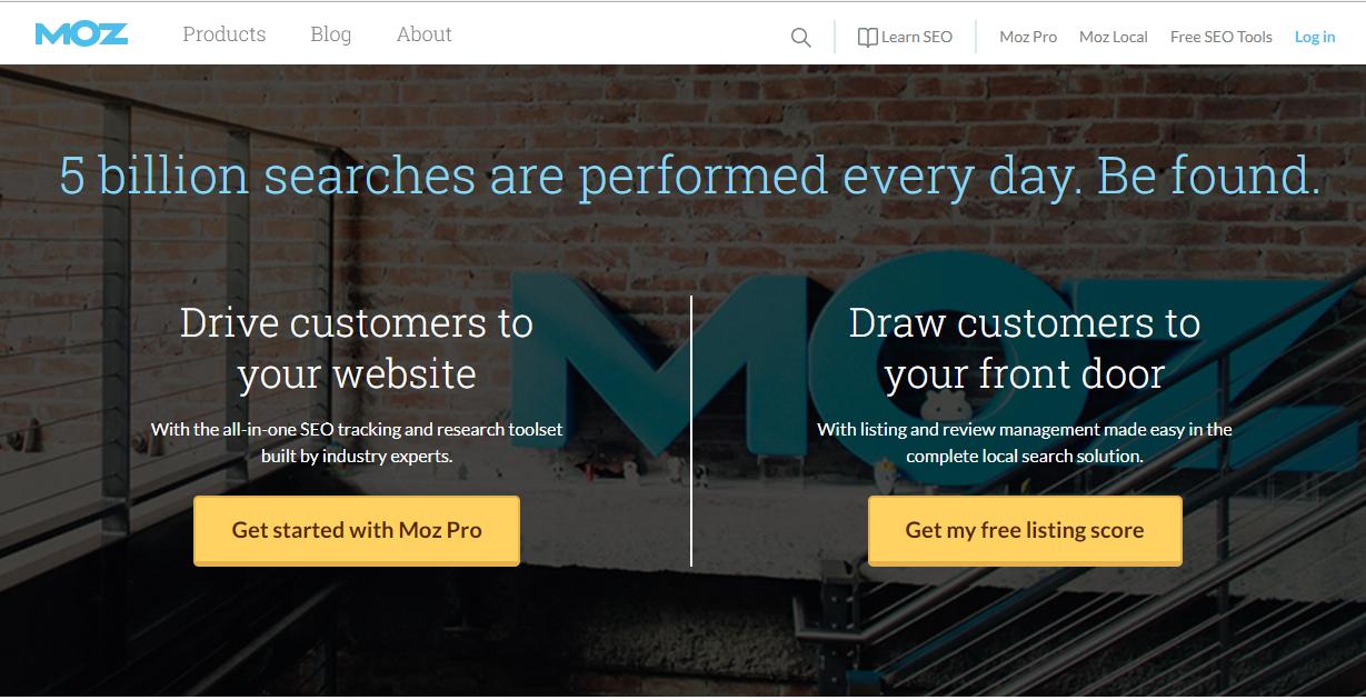 Página inicial del sítio web de MOZ