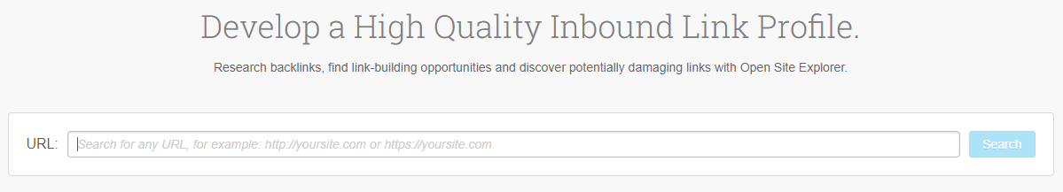 MOZ - Página del Open Site Explorer URL