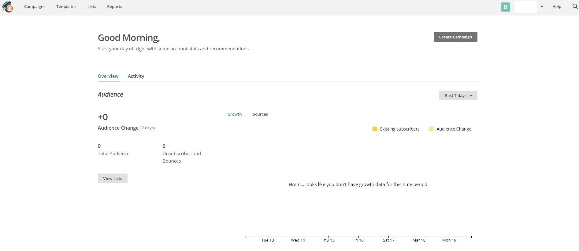 الصفحة الرئيسية في MailChimp