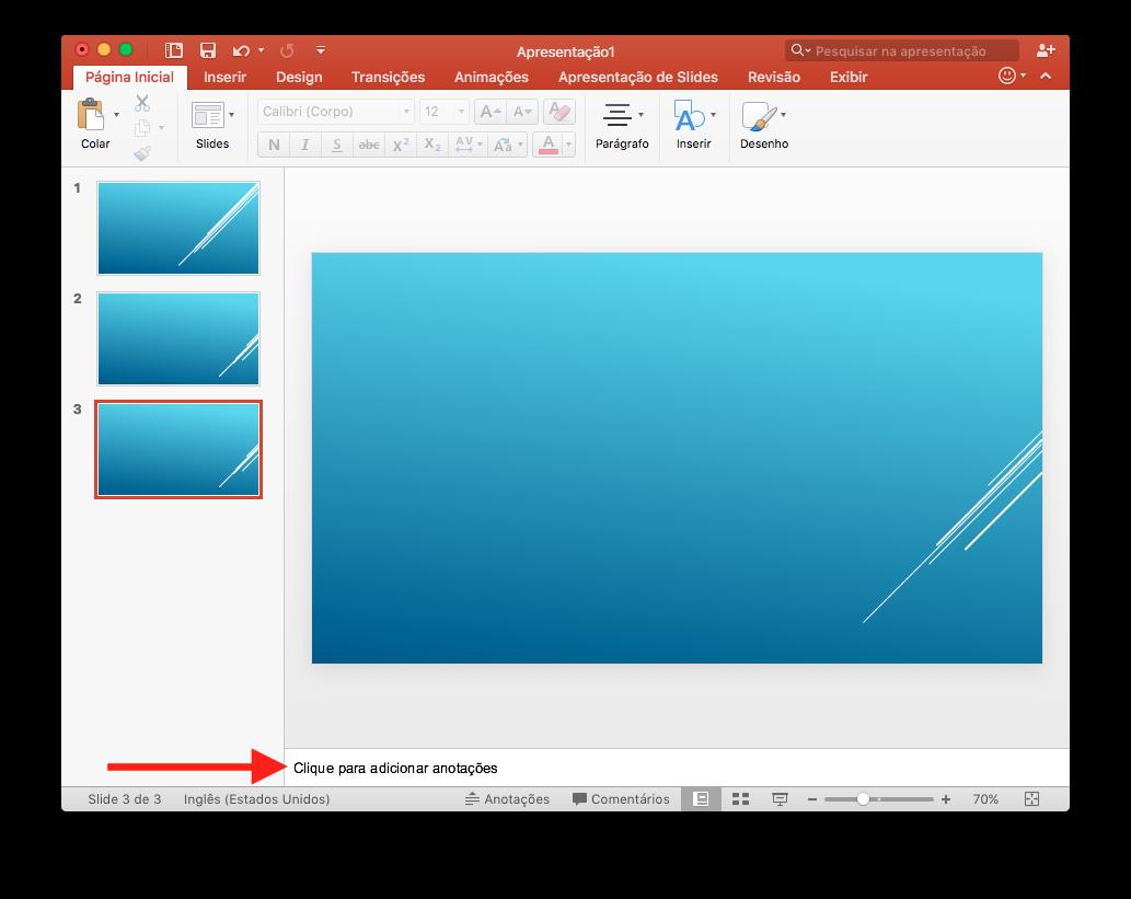 apresentação PowerPoint - imagem demonstrando como inserir anotações do orador no slide