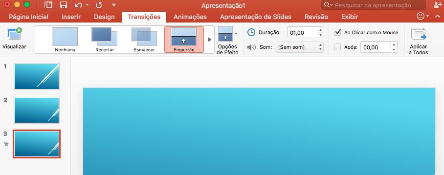 apresentação PowerPoint - imagem demonstrando como utilizar as opções de transações de slides