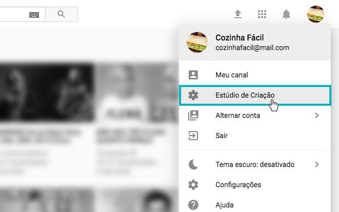 """Youtube Analytics - Imagem indicando o botão de """"Estúdio da Criação"""""""
