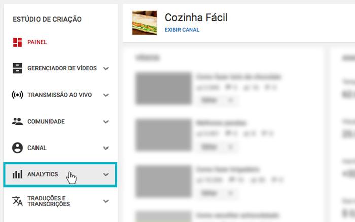 """Youtube Analytics - Imagem indicando o botão de """"Analytics"""""""