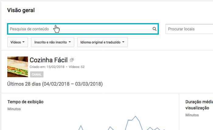 Youtube Analytics - Imagem indicando a barra de pesquisa de conteúdo