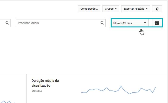 """Youtube Analytics - Imagem indicando o botão de """"últimos 28 dias"""""""