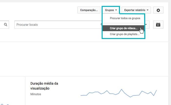 """Youtube Analytics - Imagem indicando o botão de """"Criar grupo de vídeos"""""""