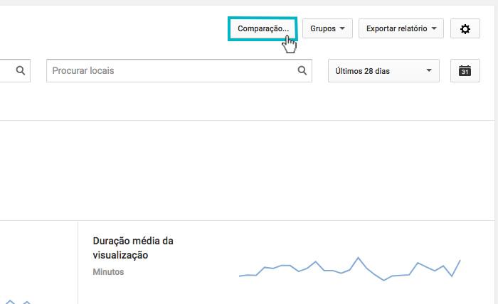 """Youtube Analytics - Imagem indicando o botão de """"Comparação"""""""