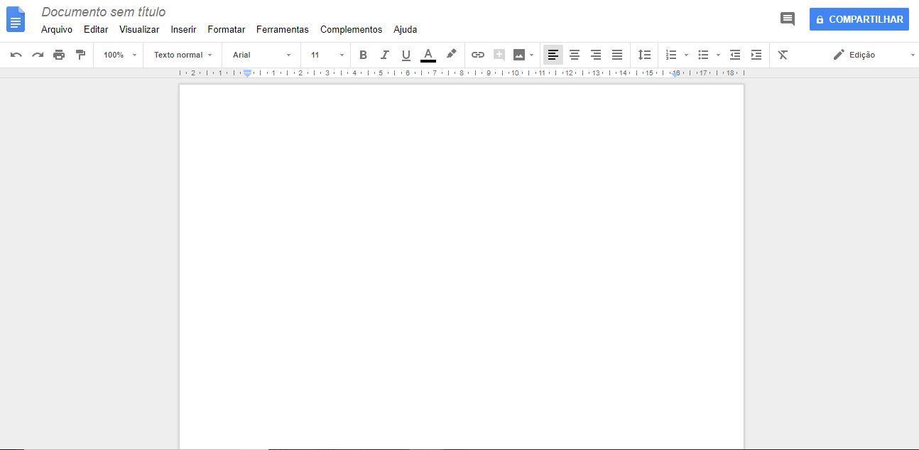 google drive - imagem indicando o botão de um documento em branco