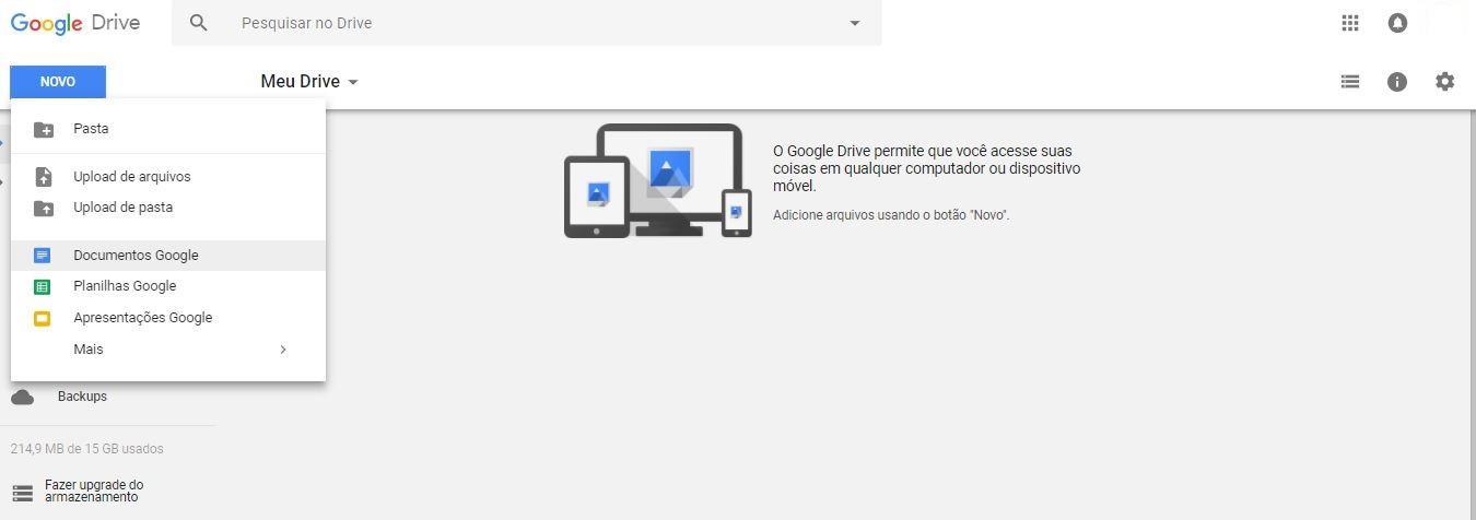 """google drive - imagem indicando o botão de """"documentos google"""""""