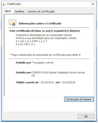 Certificado SSL - imagem da página de informações do certificado