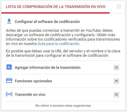 streaming - opción de configurar en software de codificación