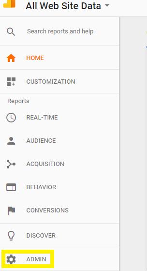 """GDPR - Image of Analytiucs menu indicating to click """"admin"""""""