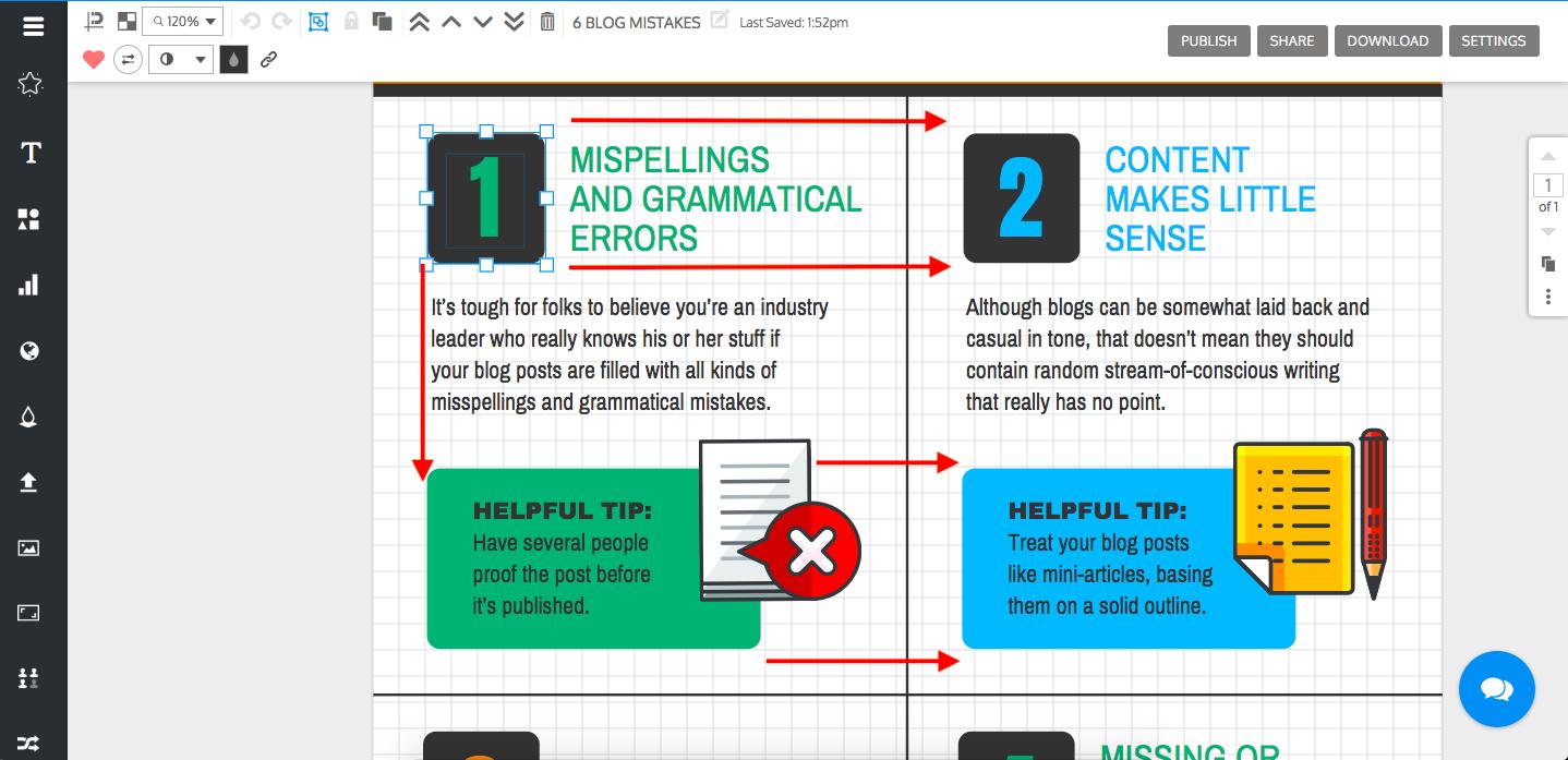 Diseño de infografía - ejemplo de cómo alinear una infografía