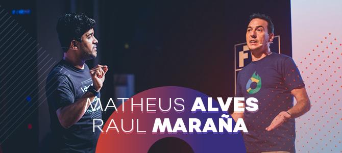 Matheus Alves e Raul Maraña, da equipe Hotmart, no palco do FIRE Festival 2018