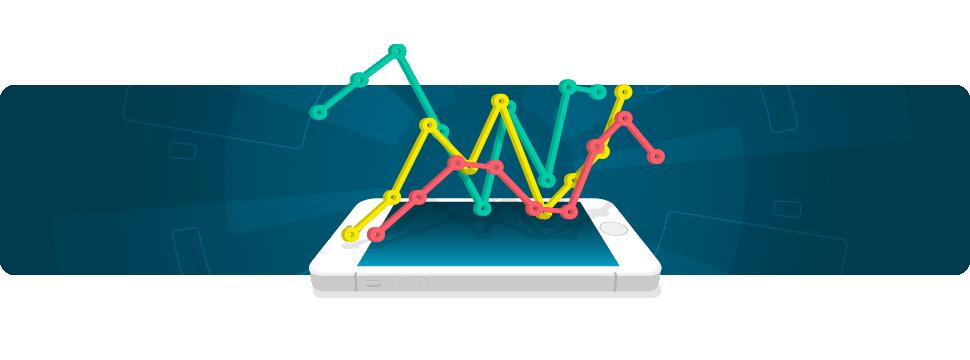 melhores-empregos - imagem de gráficos saindo de um smartphone