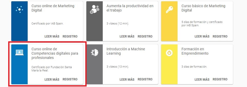 cursos de marketing digital - website de Google Actívate