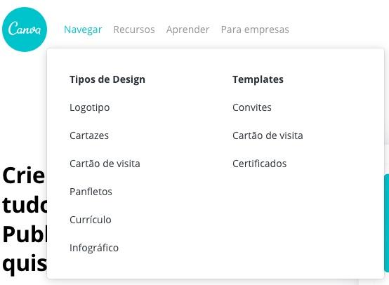 Exemplo da ferramenta para apresentação Canva