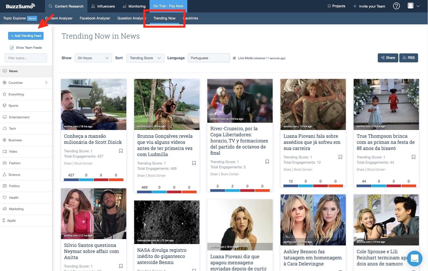 13- Como descobrir trends no BuzzSumo