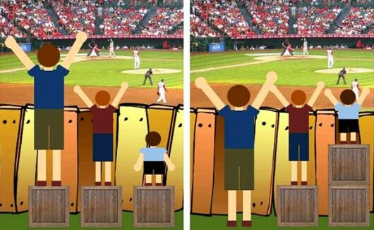 meritocracy - 2 illustrations representing the difference between between equality and equity.