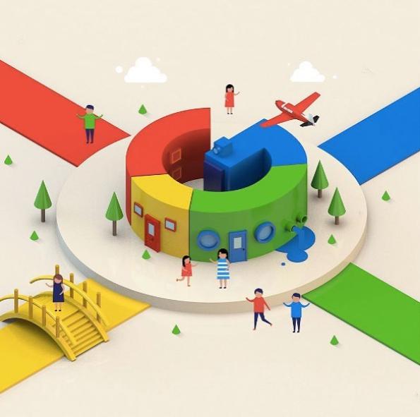 """Branding - imagem de uma casa com o formato da letra """"G"""" e nas cores vermelho, azul, verde e amarelo"""