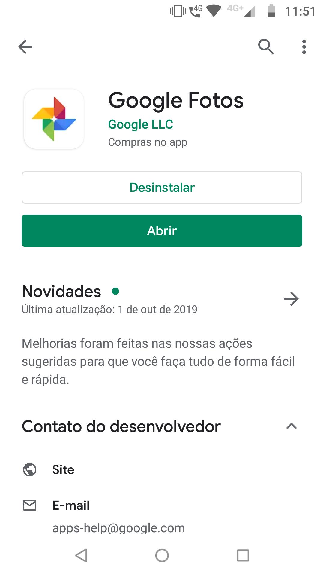 Google Fotos_página do Google Fotos na loja de aplicativos Play Store