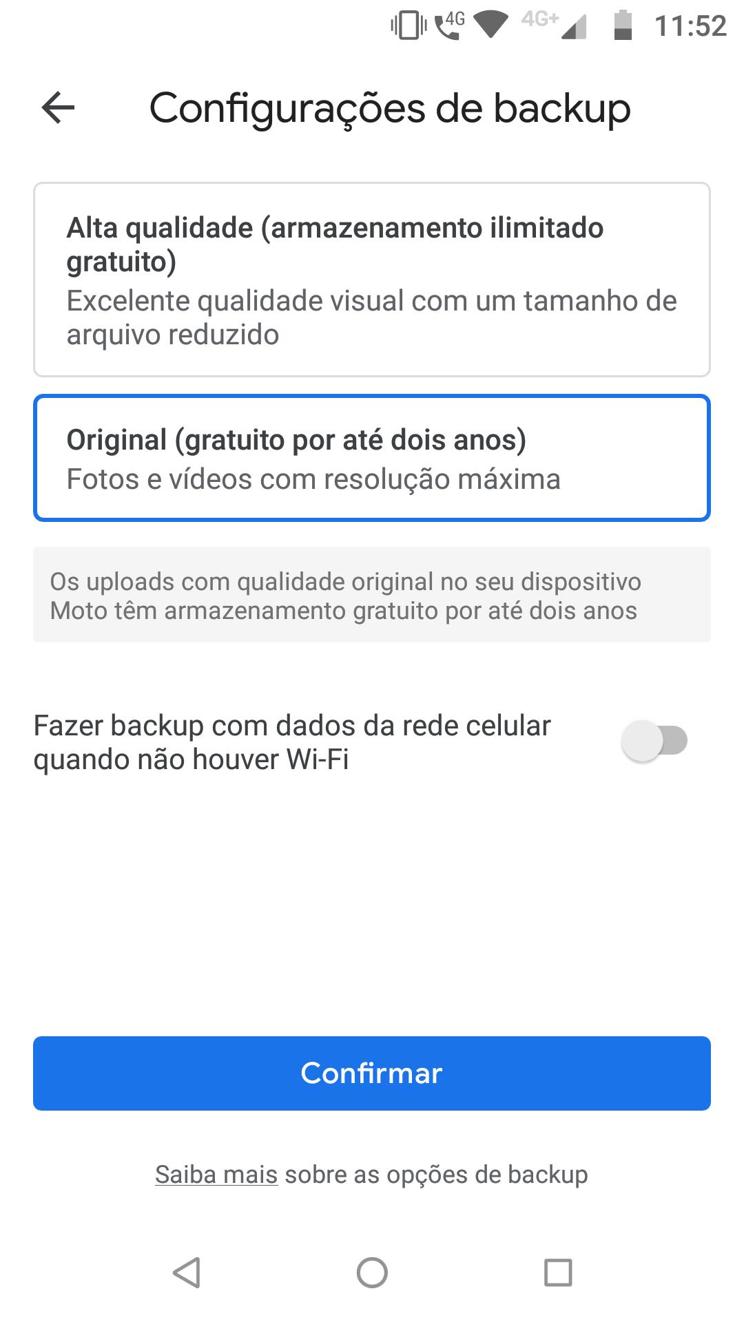 Google Fotos_imagem com o menu de escolha da qualidade do backup no aplicativo