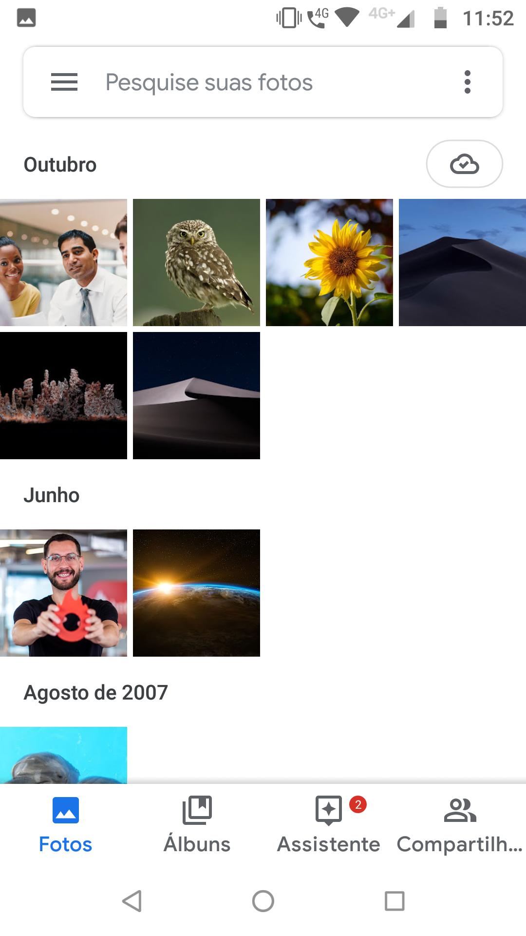 Google Fotos_organização das imagens da galeria do Google Fotos de acordo com o mês