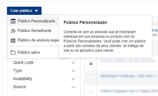 segmentar anúncios no facebook ads - criar público personalizado 1