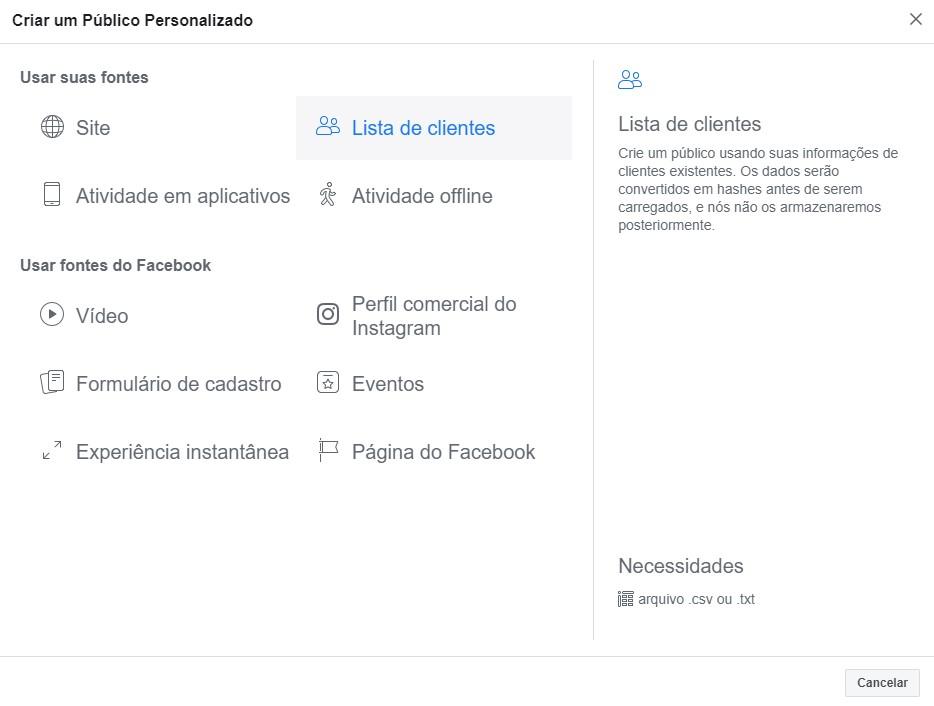 segmentar anúncios no facebook ads - criar público personalizado 2