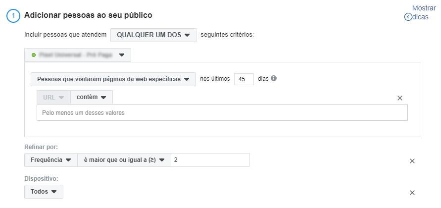 segmentar anúncios no facebook ads - criar público personalizado 6