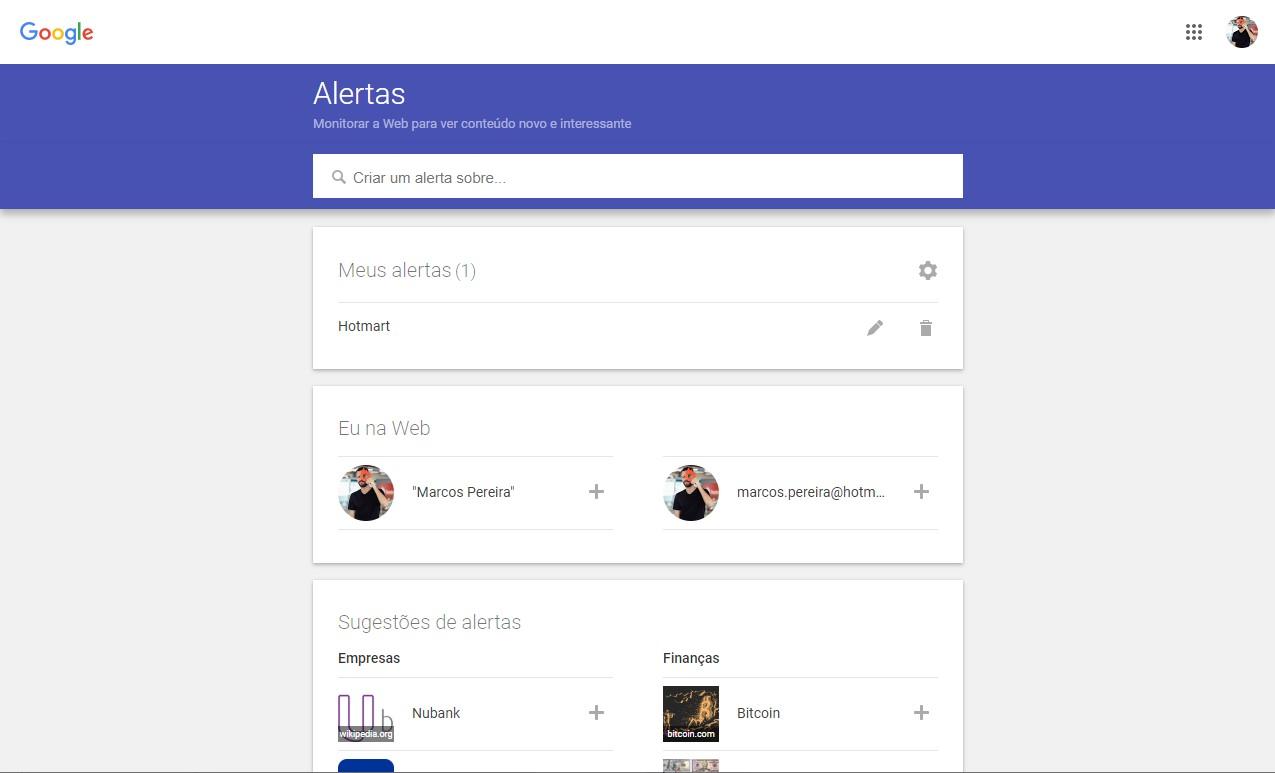 google alerts - como criar um alerta 1