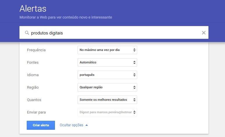 google alerts - como criar um alerta 5