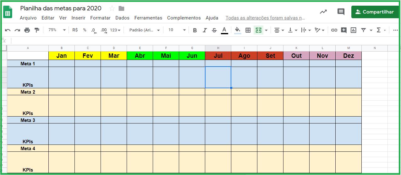 metas para 2020 - planilha para organizar metas