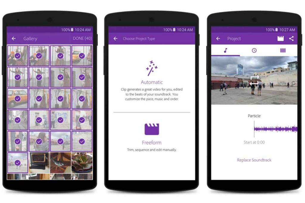 aplicativos para gravar vídeos, Adobe Premiere Clip