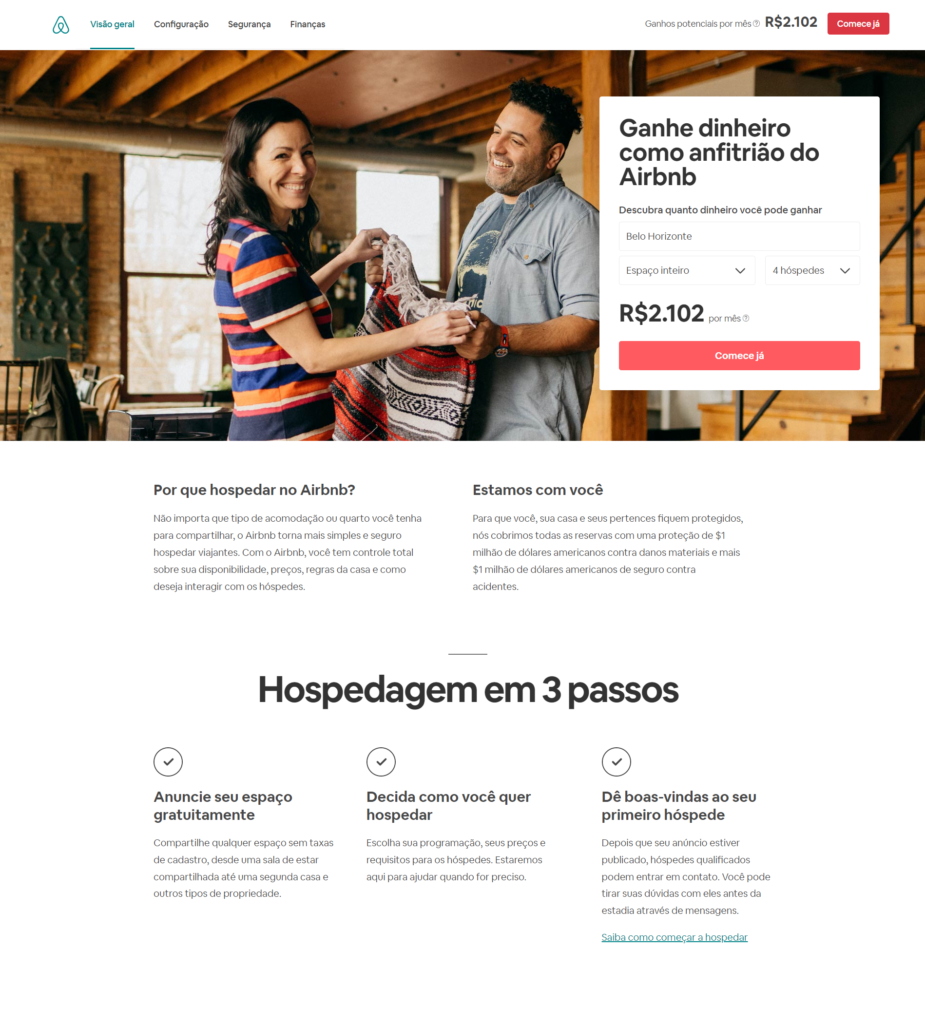 landing page airbnb