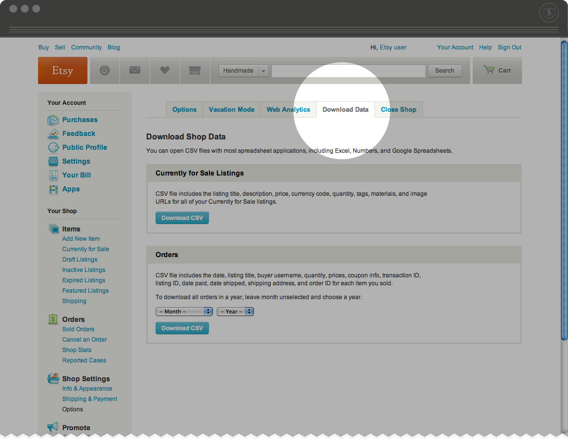 How to download your Etsy product listings from your Etsy account - Download data section