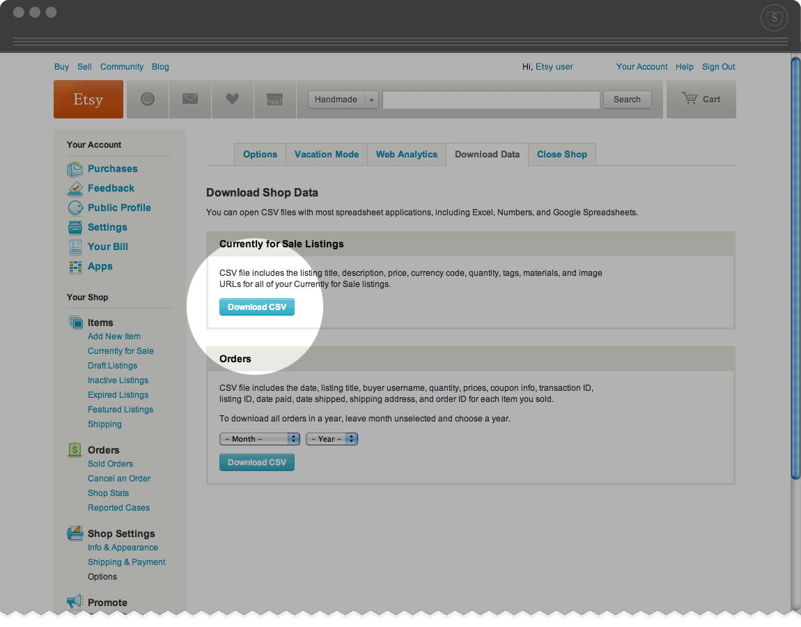 How to download your Etsy product listings from your Etsy account - Download CSV button