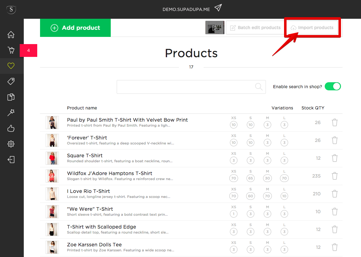 How to upload your Etsy product listings to your own store on SupaDupa - Upload products button
