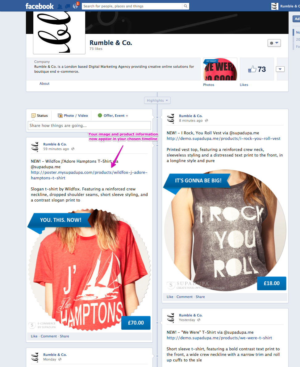 Get your product into your Facebook timeline