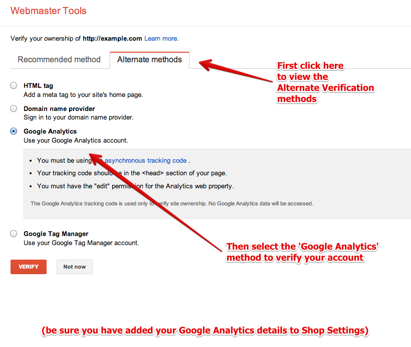 Verify with Webmaster Tools